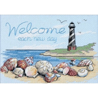 """Welcome Each New Day Mini Counted Cross Stitch Kit-7""""X5"""" 14 Count"""