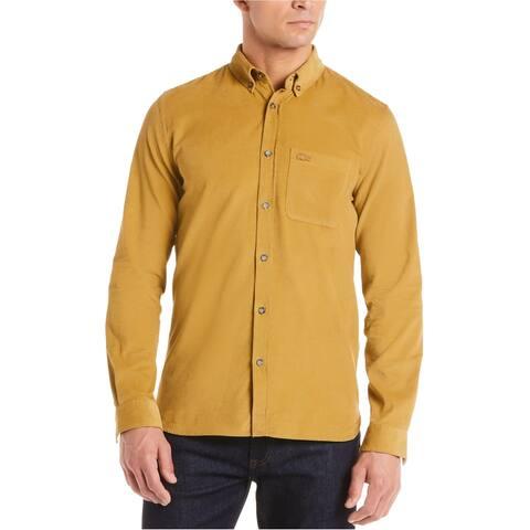 Lacoste Mens Corduroy Button Up Shirt, Brown, 2XL (US)