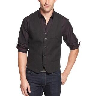 Alfani Red Label Slim Fit Pindot Cotton Button Front Vest Grey Large L