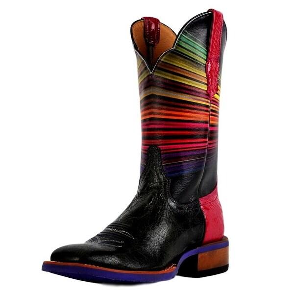Cinch Western Boots Womens Edge Technicolor Square Toe Black
