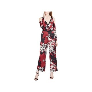 Rachel Rachel Roy Womens Jumpsuit Floral Print Cold Shoulder