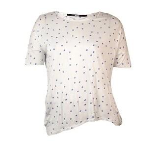 Kensie Women's Short-sleeve Squares Print Knit Blouse - white combo