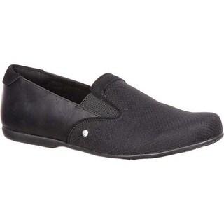 4EurSole Women's Waltz Flat Sport Loafer Black Full Grain Leather/Mesh