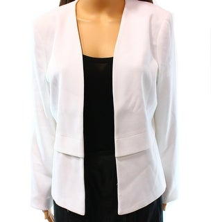 Alfani NEW White Women's Size 8 Collarless Open Front Blazer Jacket