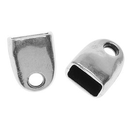 Antiqued Silver Plated Straight Cord End For Regaliz 10mm Rubber Cord - 1 Piece