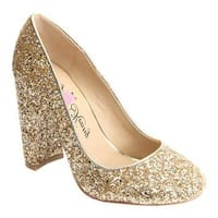Penny Loves Kenny Women's Ritz Glitter Pump Gold Glitter Fabric