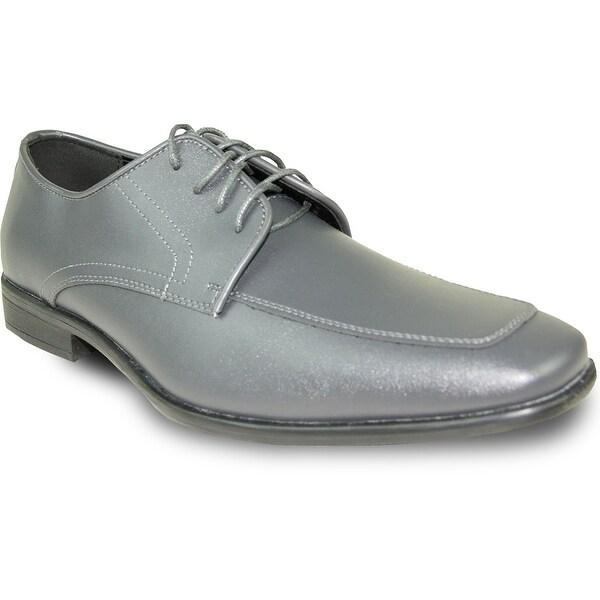 ALLURE MEN Dress Shoe AL01 Oxford Formal Tuxedo for Prom & Wedding Steel Grey - Wide Width Available