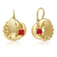Mcs Jewelry Inc  10 KARAT YELLOW GOLD STUD EARRINGS WITH LEAF DESIGN AND RED STONE