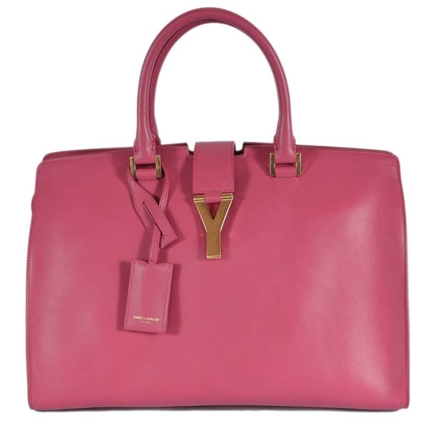 Saint Laurent YSL 311208 Large Classic Y Cabas Leather Handbag Purse - Pink c01a15ccb4466