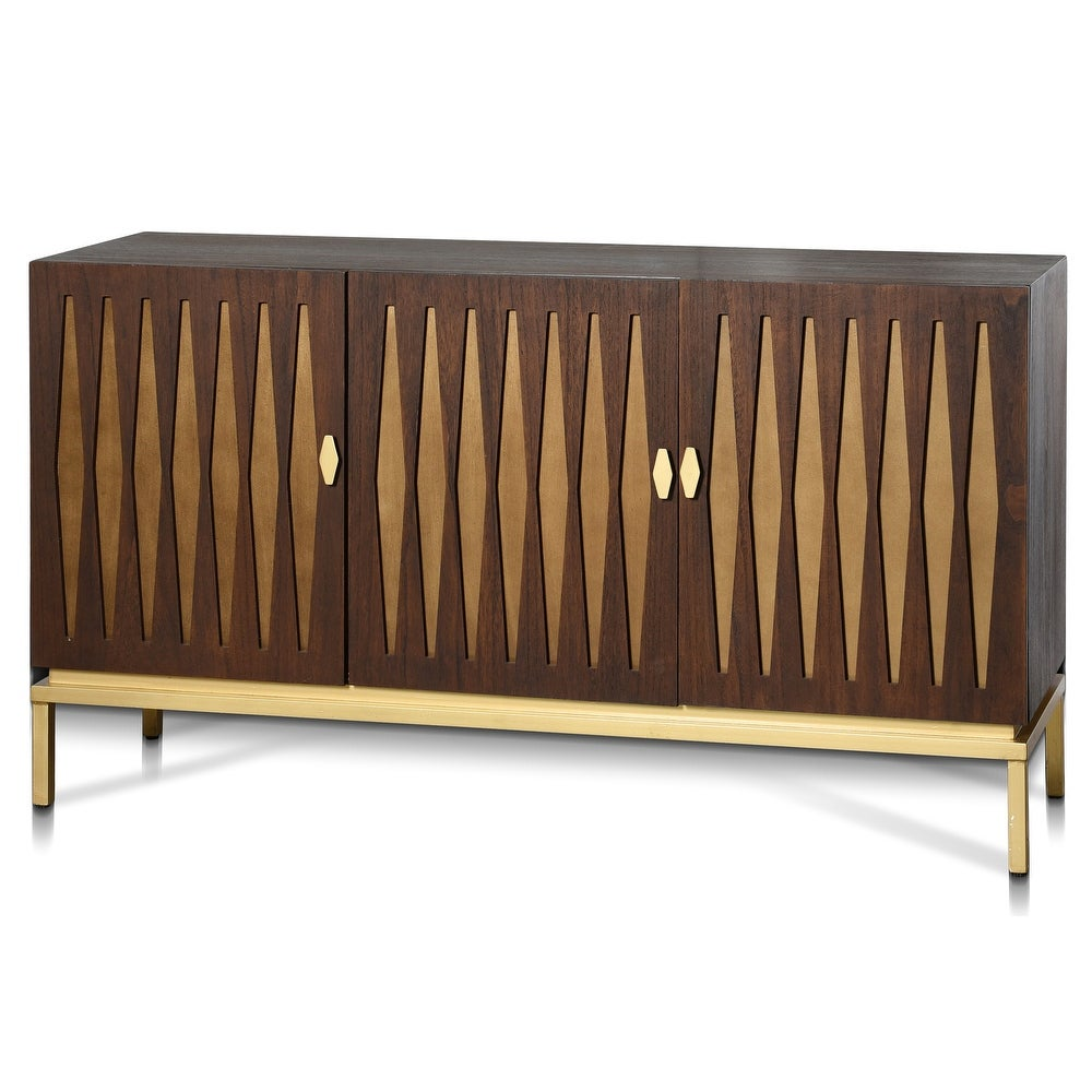 StyleCraft Ryker Chestnut Brown Stain and Pale Satin Gold Panels and Gold Metal Sideboard