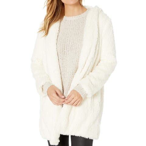 BB Dakota Womens Coat Classic White Ivory Size Medium M Faux-Fur