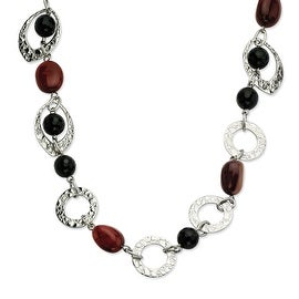 Chisel Stainless Steel Textured Ovals & Onyx & Tiger's Eye 24 Inch Necklace (22 mm) - 21 in