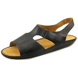 Auditions Sprite Women Open-Toe Leather Black Slingback Sandal