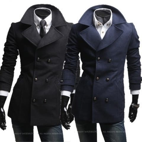 New Helical Insert Pockets Double-Breasted Wide-Lapel British Men's Wool Coats