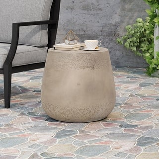 """Link to Orion Outdoor Contemporary Lightweight Concrete Accent Side Table by Christopher Knight Home - 19.00""""W x 19.00""""D x 16.25""""H Similar Items in Outdoor Coffee & Side Tables"""