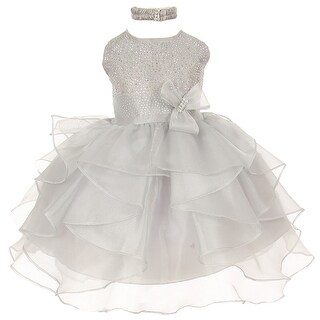 Baby Girls Silver Organza Rhinestuds Bow Sash Flower Girl Dress 6-24M