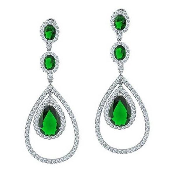 b256e93bb9384 Large Green Triple Teardrop Chandelier Earring Pear Shape Cubic Zirconia  Imitation Emerald CZ Rhodium Plated Brass 2.5in