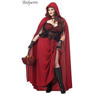 Plus Size Dark Red Riding Hood Costume, Plus Size Riding Hood Costume