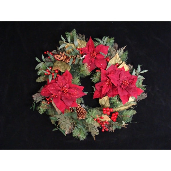 """26"""" Poinsettia Berry and Pine Cone Artificial Christmas Wreath - Unlit - green"""
