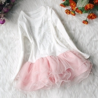 Cute Lace Flowers Baby Girl's Princess Dress Beautiful Long Sleeve Party Child Dress T327