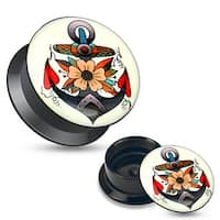 Flower Anchor Black Acrylic Stash Screw Fit Plug (Sold Individually)