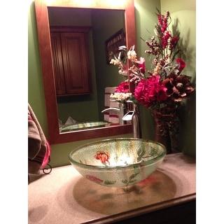 Rose/ Butterfly Glass Bowl Vessel Bathroom Sink