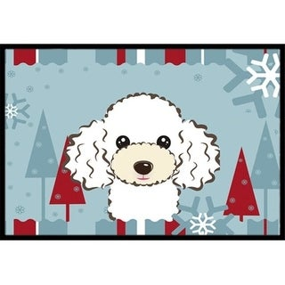 Carolines Treasures BB1753MAT Winter Holiday White Poodle Indoor & Outdoor Mat 18 x 27 in.