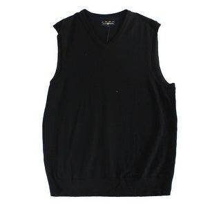 Club Room NEW Black Mens Size Small S V-Neck Merino Wool Sweater Vest
