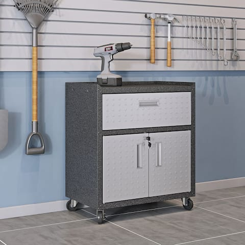 """Fortress Textured Metal 31.5"""" Garage Mobile Cabinet with 1 Full Extension Drawer and 2 Adjustable Shelves in Grey"""