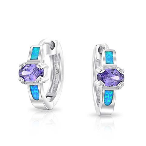 Created Opal Blue Inlay Purple Round CZ Hoop Hoop Earrings For Women 925 Sterling Silver October Birthstone