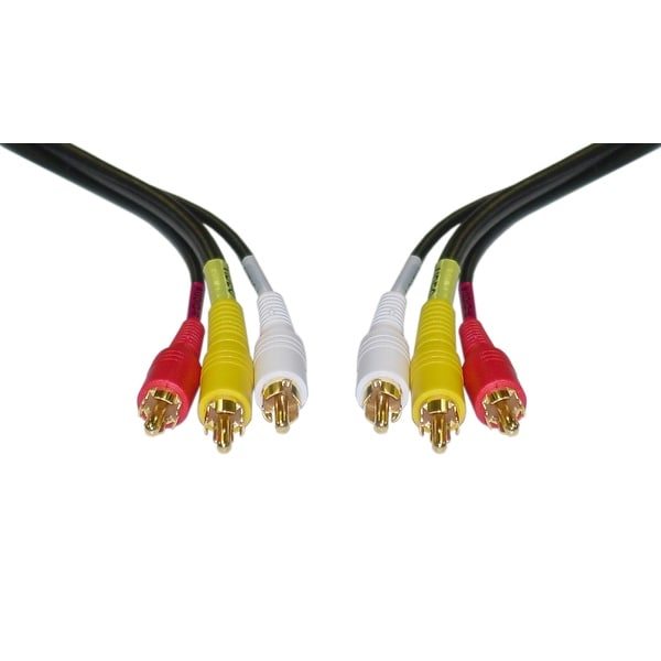 Offex Stereo/VCR RCA Cable, 2 RCA (Audio) + RCA RG59 Video, Gold-plated Connectors, 6 foot