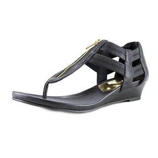 Kenneth Cole Reaction Summer Lovin Women Open Toe Canvas Black Wedge Sandal