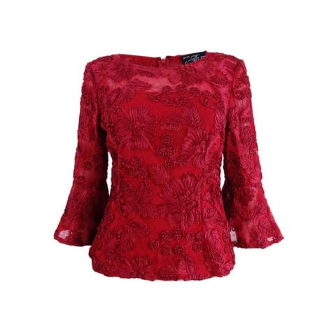 Alex Evenings Women's Petite Embroidered Bell-Sleeve Blouse - Cranberry