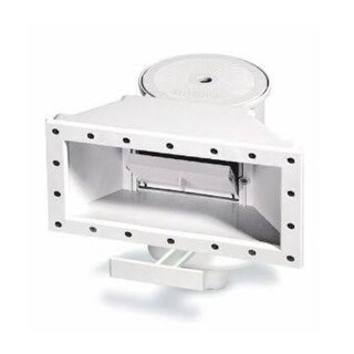 HydroTools White Assembled Wide-Mouth Support Thru-Wall Skimmer with Brace for Swimming Pool
