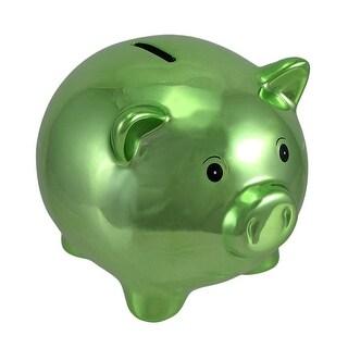 Metallic Green Ceramic Piggy Bank 5 1/2 In.