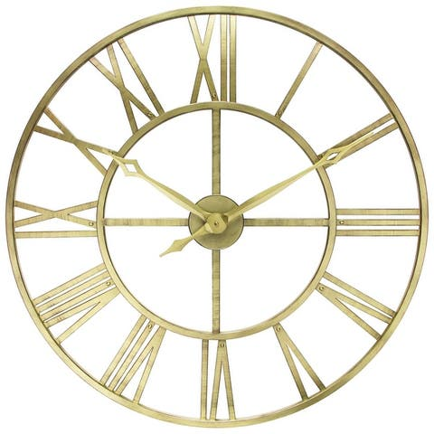 Weathered Silver Tower 30 inch Indoor/Outdoor Decorative Roman Numeral Wall Clock