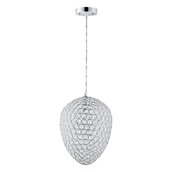 "Globe Electric 65087 1-Light 11"" Wide Pendant with Chrome and Crystal Egg Shade"