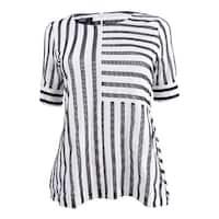Alfani Women's Petite Striped Mesh Asymmetrical Top - Black White Stripe