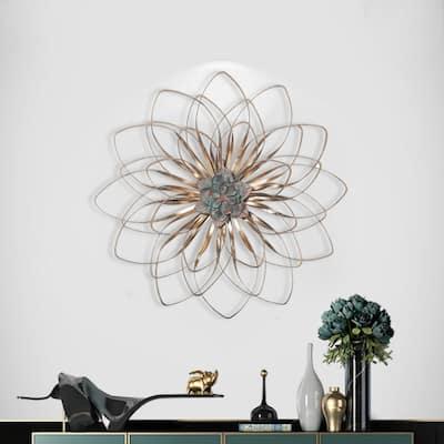 ADECO Bronze Bloom Flower Metal Wall Decor Art Living Room Bedroom