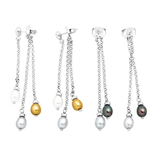 5-6 mm Freshwater Pearl Drop Earrings with Interchangeable Backs in Sterling Silver