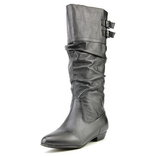 Steve Madden Kadey Wide Calf Women W Pointed Toe Leather Black Mid Calf Boot