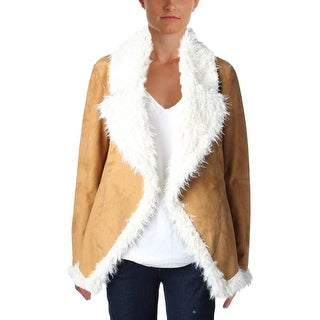 Two by Vince Camuto Womens Coat Faux Fur Lined Open Front