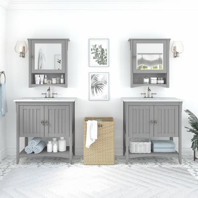 Salinas 64W Double Vanity Set with Medicine Cabinets by Bush Furniture