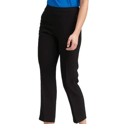DKNY Women's Pants Black Size Large L Capris Zip Pocket Detail Stretch