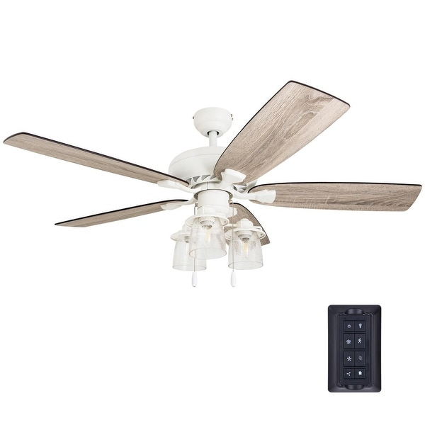 The Gray Barn Chevening 52-inch Coastal Indoor LED Ceiling Fan with Remote Control 5 Reversible Blades - 52. Opens flyout.