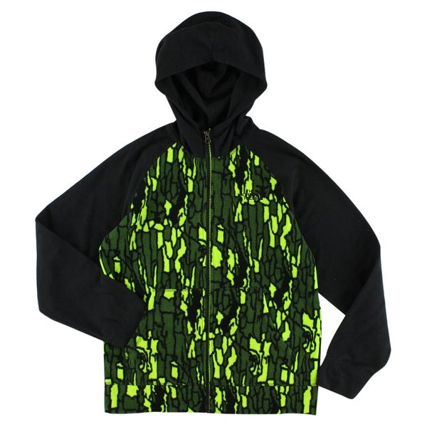 1d1da0179 The North Face Boys Glacier Full Zip Fleece Hoodie Black - black/army  green/bright green - L