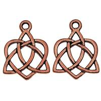 TierraCast Celtic Collection, Celtic Open Heart Charm 15.5x20.5mm, 2 Pieces, Antiqued Copper Plated