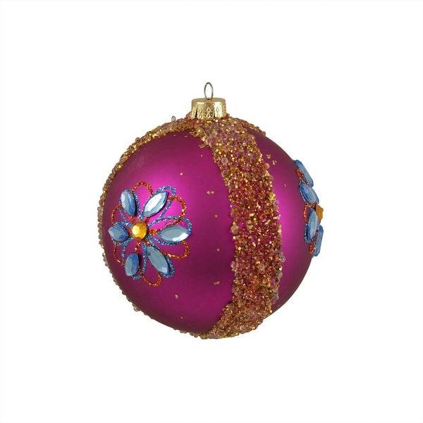 "Flower Power Fuchsia Gemstone Shatterproof Christmas Ball Ornament 4"" (100mm) - PInk"