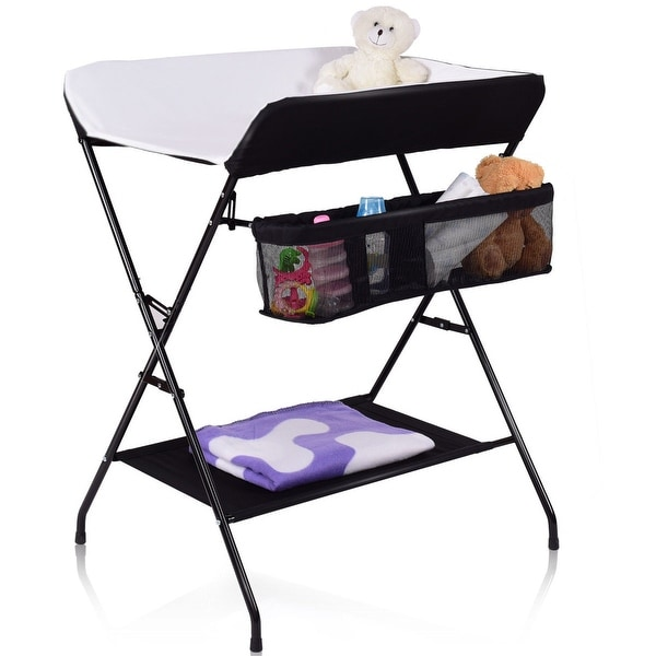 Costway Infant Baby Changing Table Folding Diaper Station Nursery Organizer w/ Storage - Black