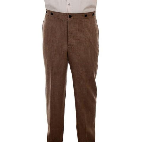 Scully Western Pants Mens Plaid Gent Dress Slacks Wahmaker - Tan